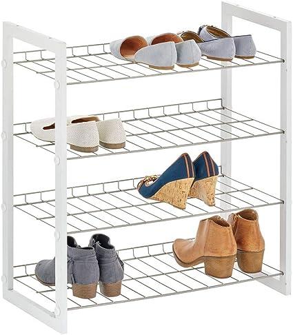 mDesign Estantería para zapatos con 4 baldas – Mueble zapatero compacto en madera y metal para pasillo o dormitorio – Organizador de calzado para ...
