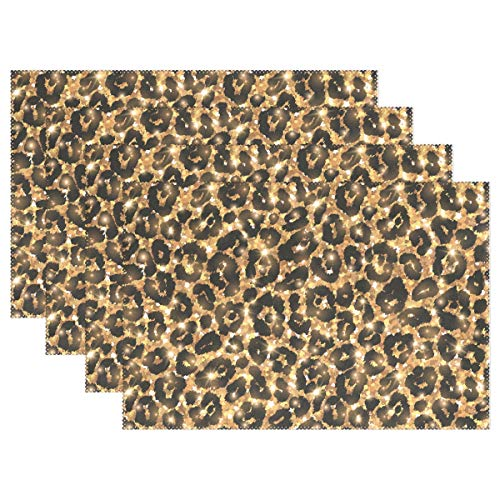 WIHVE Placemats Set of 1, Gold Leopard Pattern Holiday Non Slip Heat-Resistant Washable Polyester Table Place Mats for Kitchen Dining Table, 12