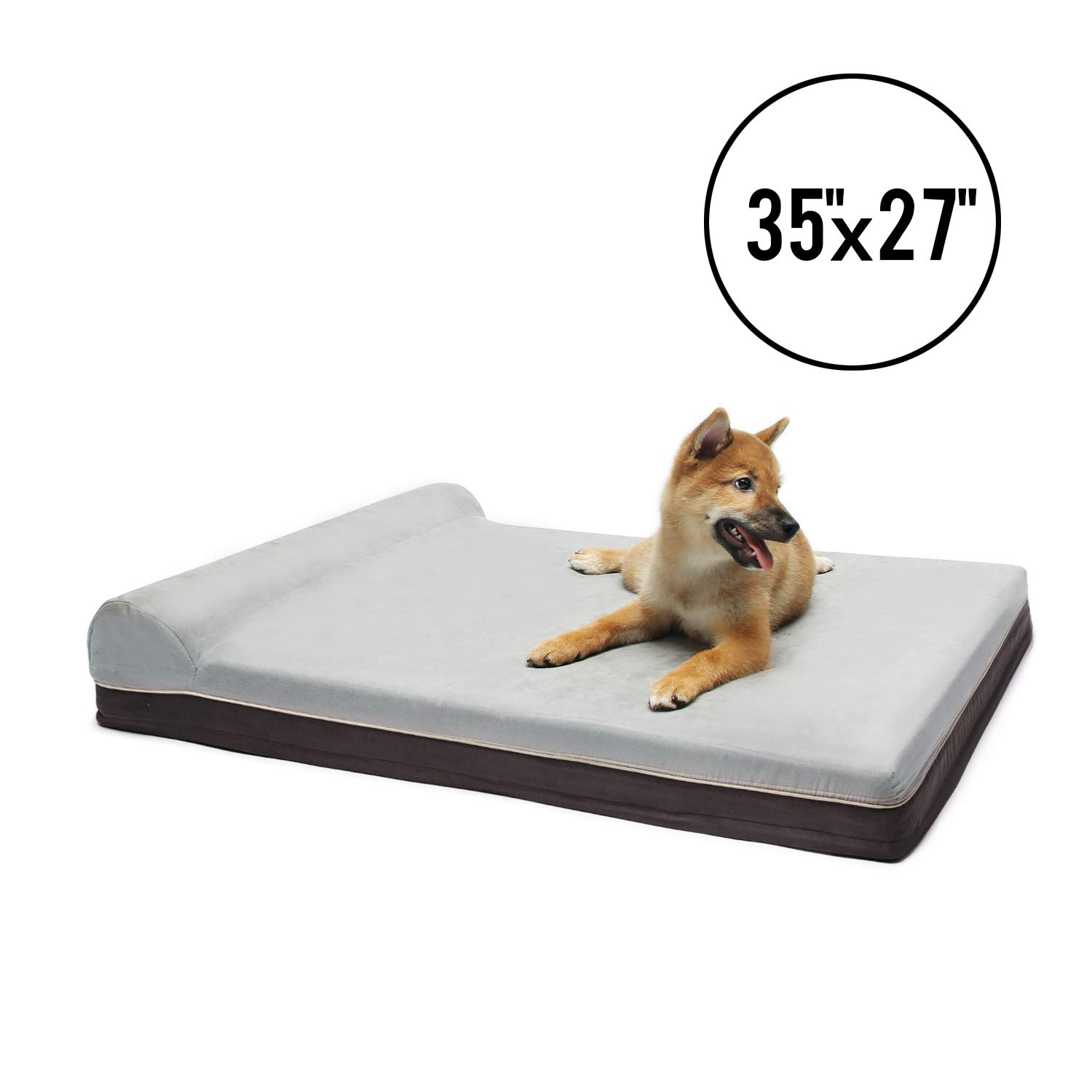 LAZY BUDDY Dog Bed, 35'' Length Memory Foam and Comfort Foam Dog Bed with Waterproof Cover, Removable and Washable Cover for Small, Medium and Large Dogs and Other Pets. (Medium)