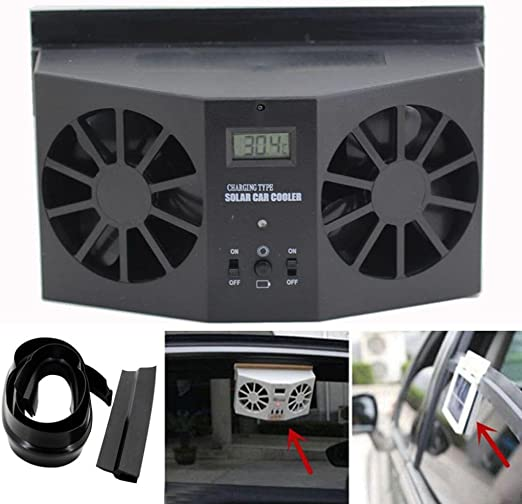 Solar Powered Auto Car Window Ventilator Cooler Air Vent Cool Fan Radiator USA