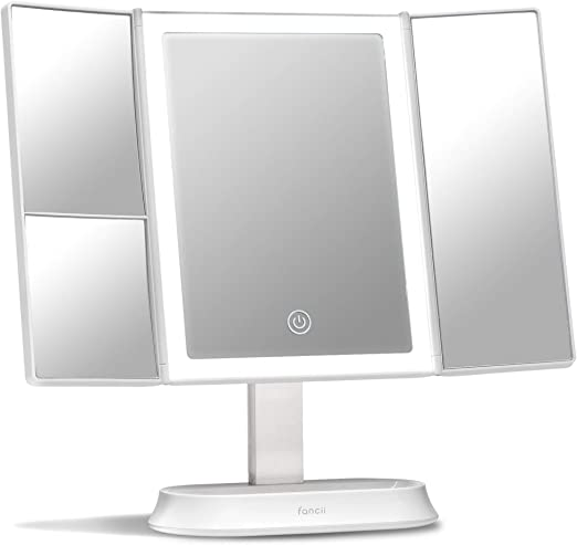 Fancii Trifold Makeup Mirror with Natural LED Lights, Lighted Vanity Mirror with 5x & 7x Magnifications - 58 Dimmable Lights, Touch Screen, Cosmetic Stand (Sora)
