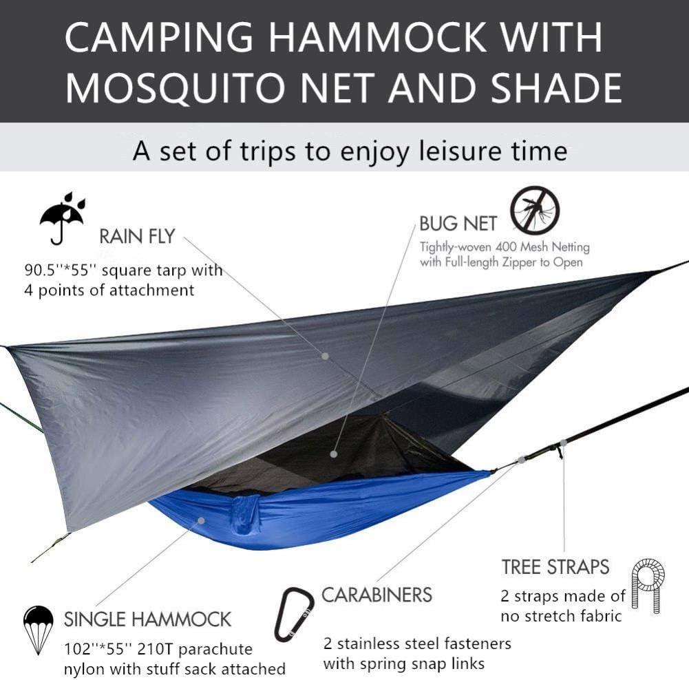 Trekking Mouche De Pluie Et des Sangles DArbres pour Int/érieur Ext/érieur Voyage Plage Randonn/ée,Bleu Et Camouflage UKKD Hamac Hamac De Camping Portable avec Moustiquaire