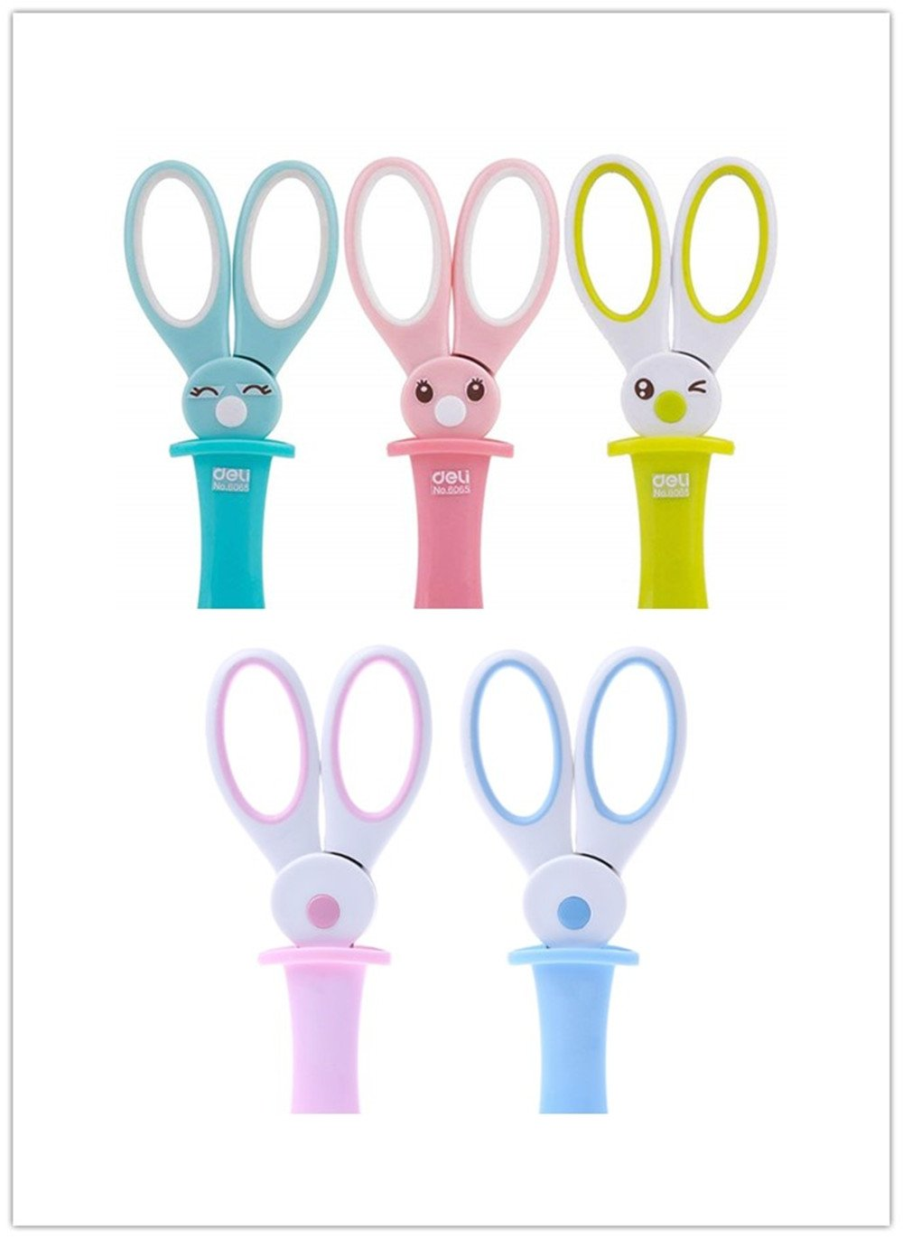 3 Pcs Kids Safety Scissors,With Protective Cap, 5-Inches, Cute Rabbit Assorted Colors