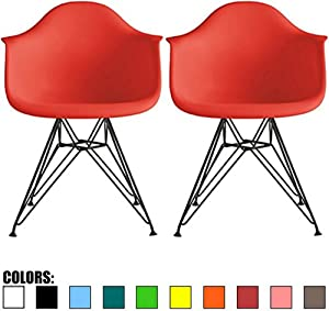 2xhome Set of Two (2) Red Armchair Natural Wood Legs Eiffel Dining Room Chair - Lounge Chair Arm Chair Molded Arms Chairs Seats Wooden Wood Leg Wire Leg (Bright Red - Black Wire Legs)