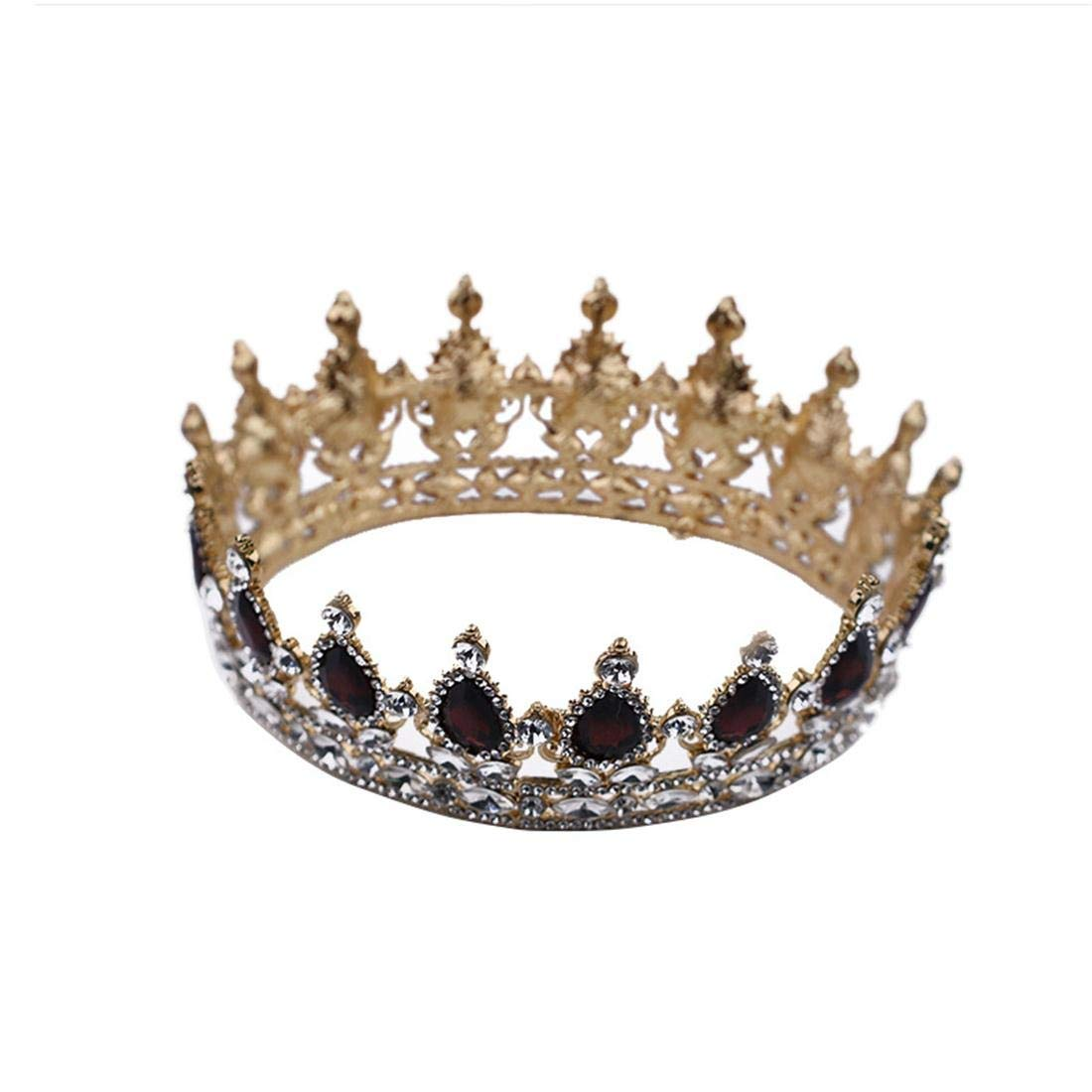 ZYDP Jeweled Baroque Queen Crown - Rhinestone Wedding Crowns and Tiaras for Women, Costume Party Hair Accessories (Color : Golden) by ZYDP