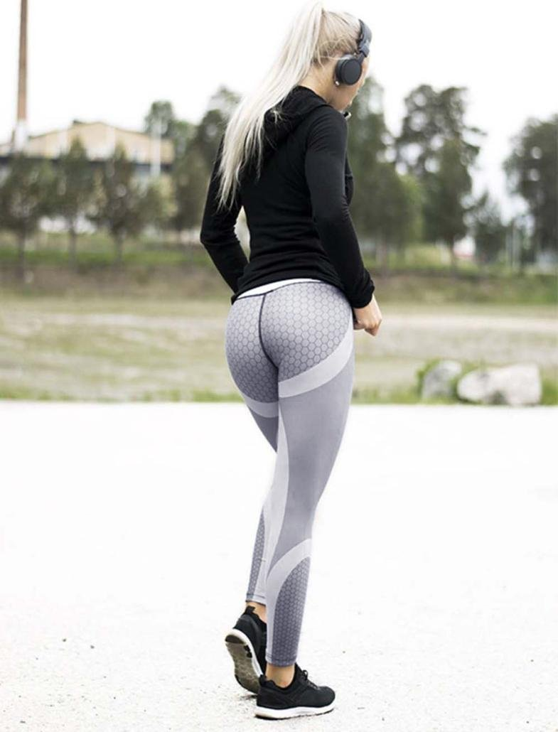 13c46fd04120b Leyorie Womens Honeycomb 3D Print Tights Yoga Skinny Workout Gym Leggings  Sports Training Cropped Exercise Capri Pants