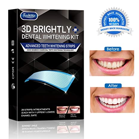 Blanqueador Dental Profesional Bandas Foshine,Carbón Activado de Blanqueamiento Dental Bandas Blanqueadoras Profesional Whitening Strips