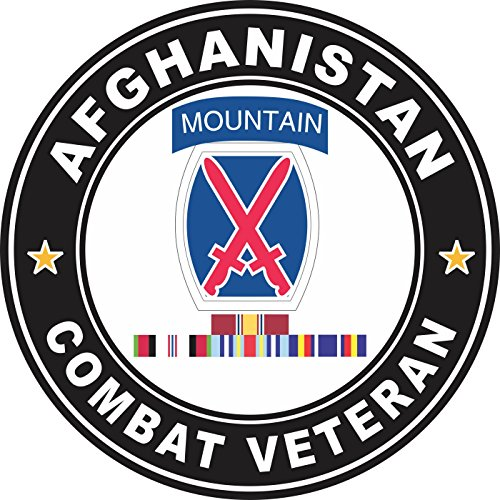 Military Vet Shop US Army 10th Mountain Division Afghanistan GWOT Ribbons Combat Veteran Window Bumper Sticker Decal 3.8""