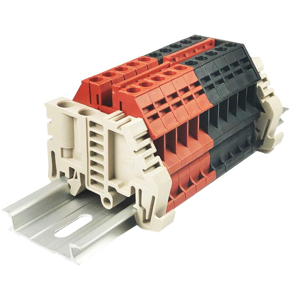 Dinkle Combiner DK4N Red/Black Positive 5 Gang Negative 5 Gang Box Connector DIN Rail Terminal Blocks, 10-22 AWG, 30 Amp, 600 Volt, Common Positive Circuits, Common Negative Circuits by Dinkle