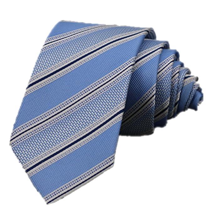 Y-WEIFENG Corbata de Seda teñida con Hilos Lazo de Rayas Azul ...