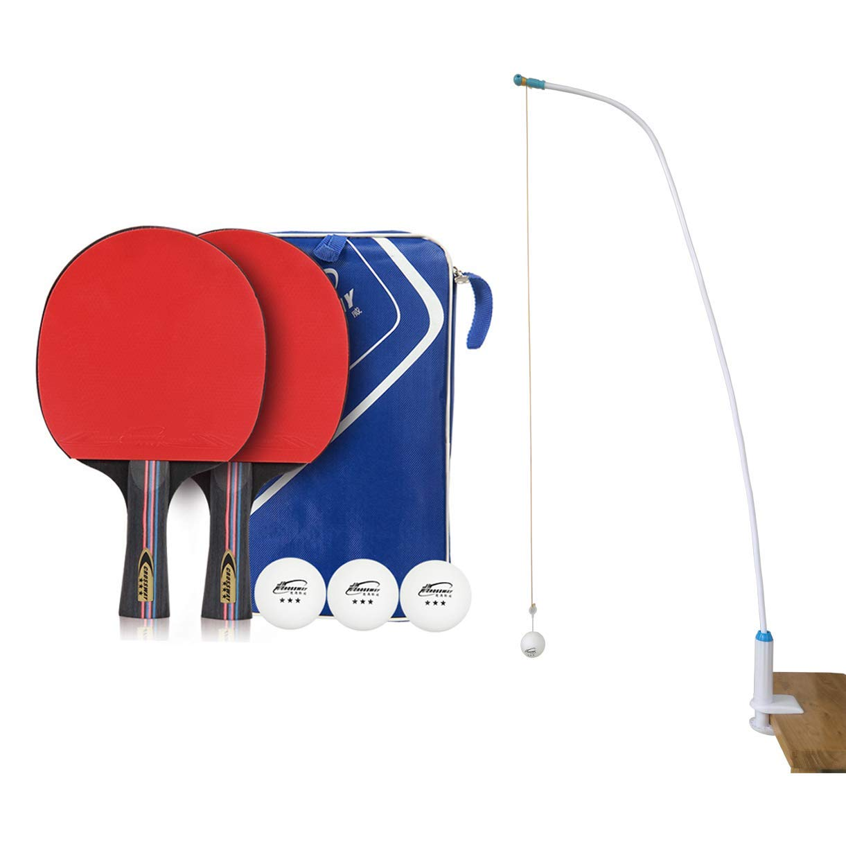 Pinpinpon Table Tennis Trainer, Home and Office Leisure Decompression Sport, Two Table Tennis Rackets with 3 Balls,1 Ping Pong Paddle Case and 1 String Ball Stand/Phone Stand by Pinpinpon