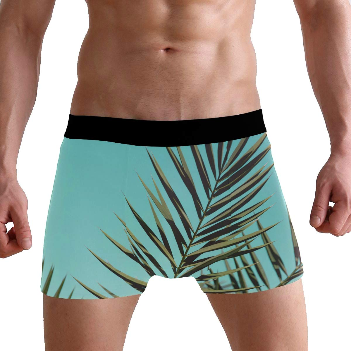 Hipster Unique Sky Leaves Green Colors Boxer Briefs Mens Underwear Boys Breathable Stretch Low Rise