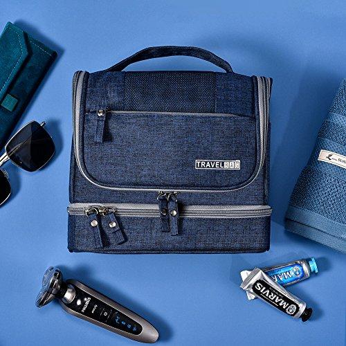 Toiletry Bag Hanging Travel Toiletry Organizer Kit with Hook and Handle Waterproof Cosmetic Bag Dop Kit for Men or Women (Navy Blue) by NICEPACK (Image #6)