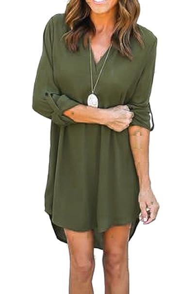Etwas Neues genug YACUN Damen Lang Blusen Mini Hemdkleid Casual Blusenkleid #OS_55
