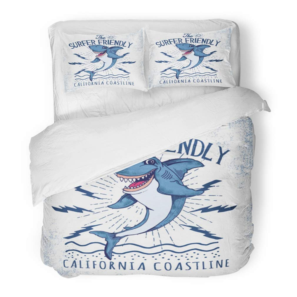 Emvency Bedding Duvet Cover Set Full/Queen (1 Duvet Cover + 2 Pillowcase) Surf Surfing Shark for Boy in Custom Colors Character Wind Fish Kid Vintage America Hotel Quality Wrinkle and Stain Resistant