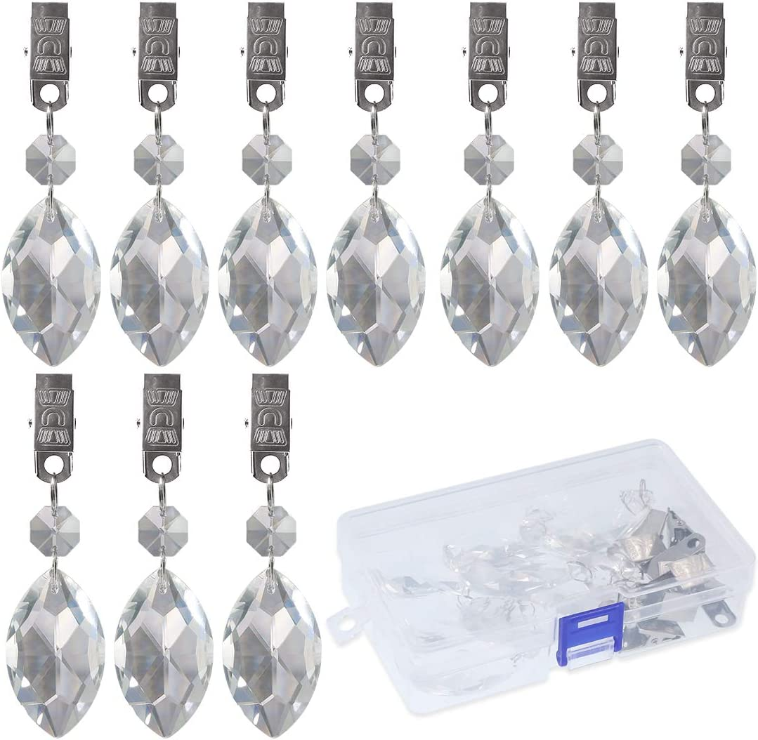 Crystal Glass Teardrop Prisms Pendant Tablecloth Weights for Picnic Tables Tablecloth Weights Heavy Outdoor Swpeet 10Pcs Marquise Tablecloth Weights with 10Pcs Metal Clip Kit