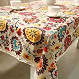 "Budding Joy Rectangular Damask Pattern Decorative Macrame Lace Tablecloth Heavy Weight Cotton Linen Fabric Decorative Table Top Cover (55""70"", Sunflower)"