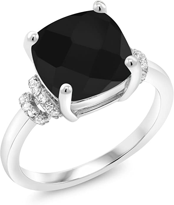 925 Sterling Silver 7X5 MM Oval Cut Green Onyx Gemstone Twist Shank Women Ring