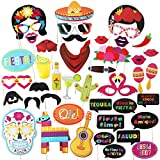 Fiesta Photo Booth Props,Fiesta Party Supplies,Mexican Party Favors,Selfie Props,Mexico Photobooth for Dia de los Muertos,Theme Party 43 pcs (Fiesta)