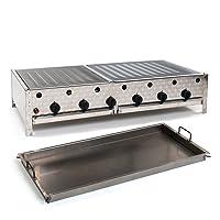 Tischbräter LAG 4+2 Gas Brenner 6-flammig silber klein Edelstahl Tableroaster ✔ eckig ✔ Grillen mit Gas