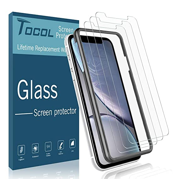 TOCOL [3 Pack] Screen Protector for iPhone XR, [Alignment Frame Easy  Installation] Double Free [Anti Scratch] HD Clear Tempered Glass Film with