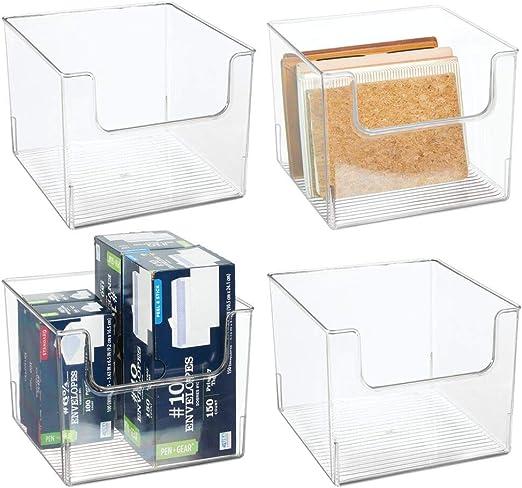 mDesign Juego de 4 cajas organizadoras – Práctico organizador de ...