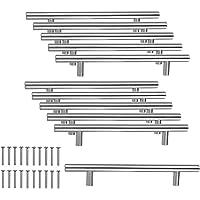JZK 10 x roestvrij stalen handgrepen, meubelgreep, stanggrepen, boorgatafstand 128 mm, railgrepen voor kast, lade…
