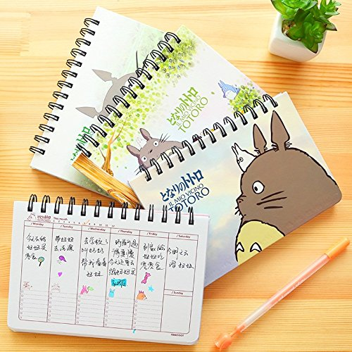 Cartoon Totoro Weekly plan Spiral notebook Agenda for week Schedule organizer planner Cuadernos office School supplies 6821