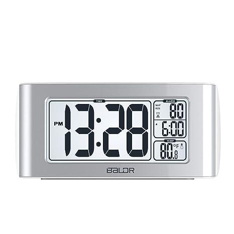 SXWY Reloj Despertador, Tecla para Configurar La Función Snooze Reloj,White