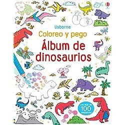Álbum de dinosaurios: Coloreo y pego