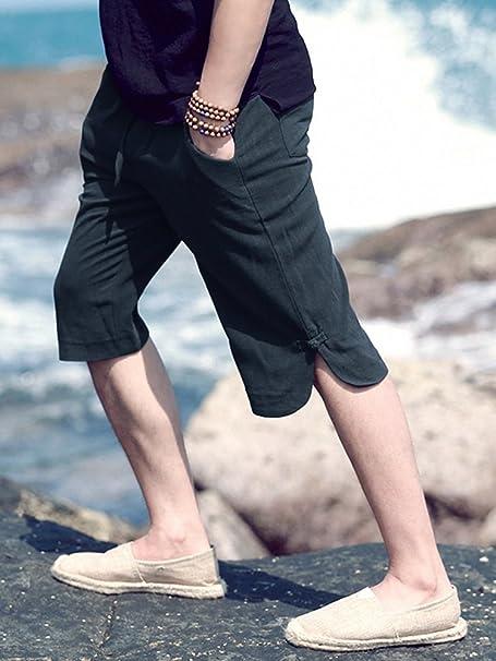 Lueyifs Herren Leinen Shorts Bermudas Hosen Chino Strand Stoffhose Knielang  Sport-Shorts  Amazon.de  Bekleidung b386eda39e