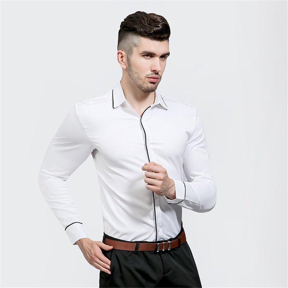 EIN langärmliges Hemd für oberhemden für männer und Revers Lange ärmel,weiße,XXL