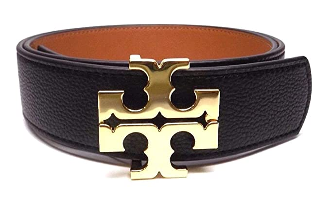 099f09a5d4d Tory Burch Women s 1 2 quot  0.5 quot  Genuine Leather Square Logo Buckle  Skinny Belt