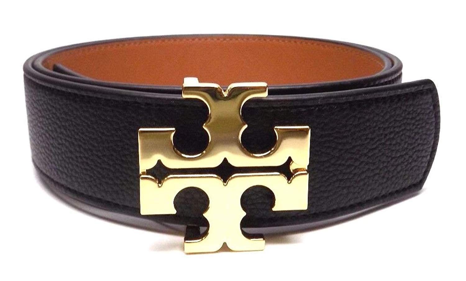 Tory Burch Women's 1/2'' 0.5'' Genuine Leather Square Logo Buckle Skinny Belt Black Brown (Large)