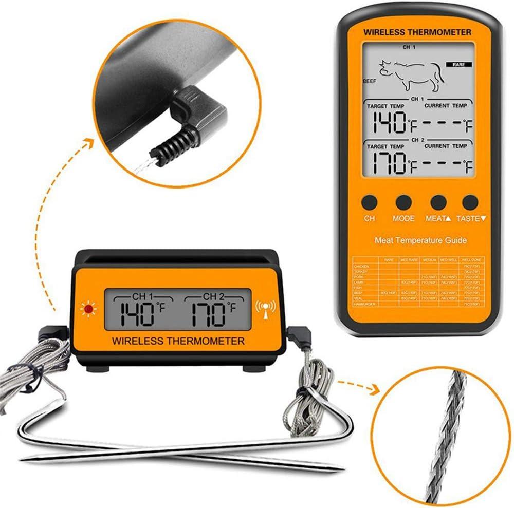 DIYARTS Drahtlose Fleischthermometer Digital Remote Dual 2 Sonde Kochen Lebensmittel-Thermometer mit Alarmsystem f/ür K/üche Raucher Ofen BBQ Grill