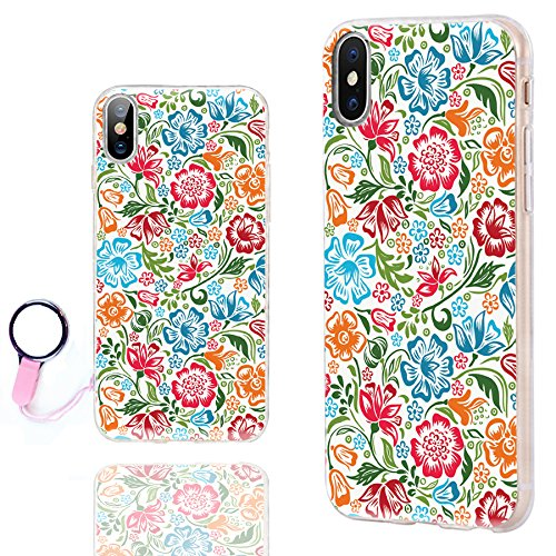 iPhone XS Case for Girls,iPhone X Case Floral,iPhone 10 Case,ChiChiC Ultra Thin Slim Flexible Soft TPU Clear Case Cover with design for Apple iPhone XS X 10,colorful red green sky blue flower on white