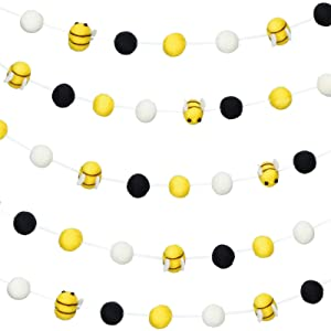 Bees Felt Ball Garlands Bees Pom Pom Garlands Ball Banner Bumblebee Hanging Garland Banner Bumble Bee Shaped Decoration for Baby Shower Party Home Decoration (4 Pieces)