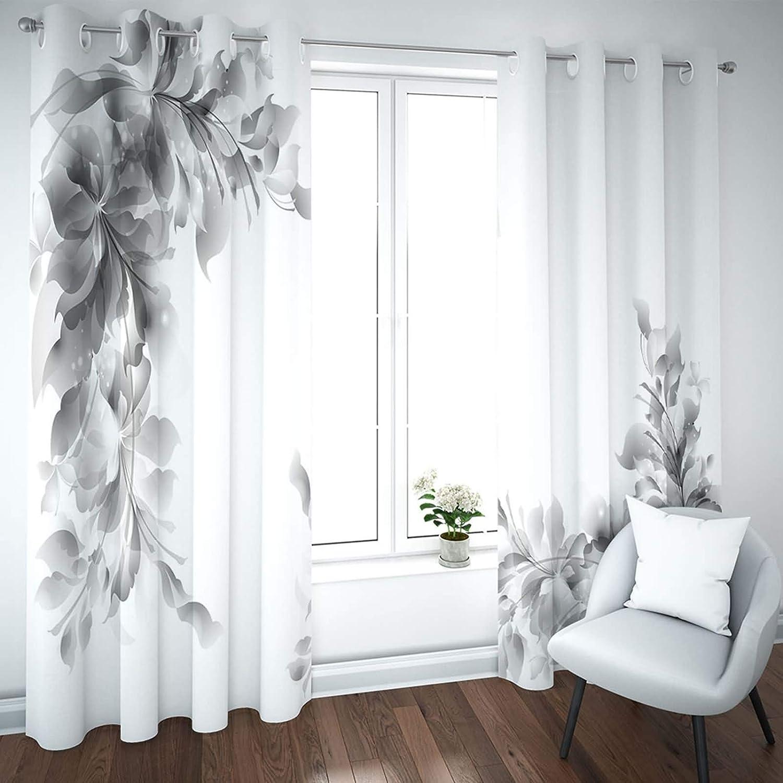 Daesar Blickdicht Vorhang mit /Ösen 2er Set 214x115CM Vorh/änge Schlafzimmer Blickdicht Blumen Verdunklungs Vorhang Gardinen Polyester Grau