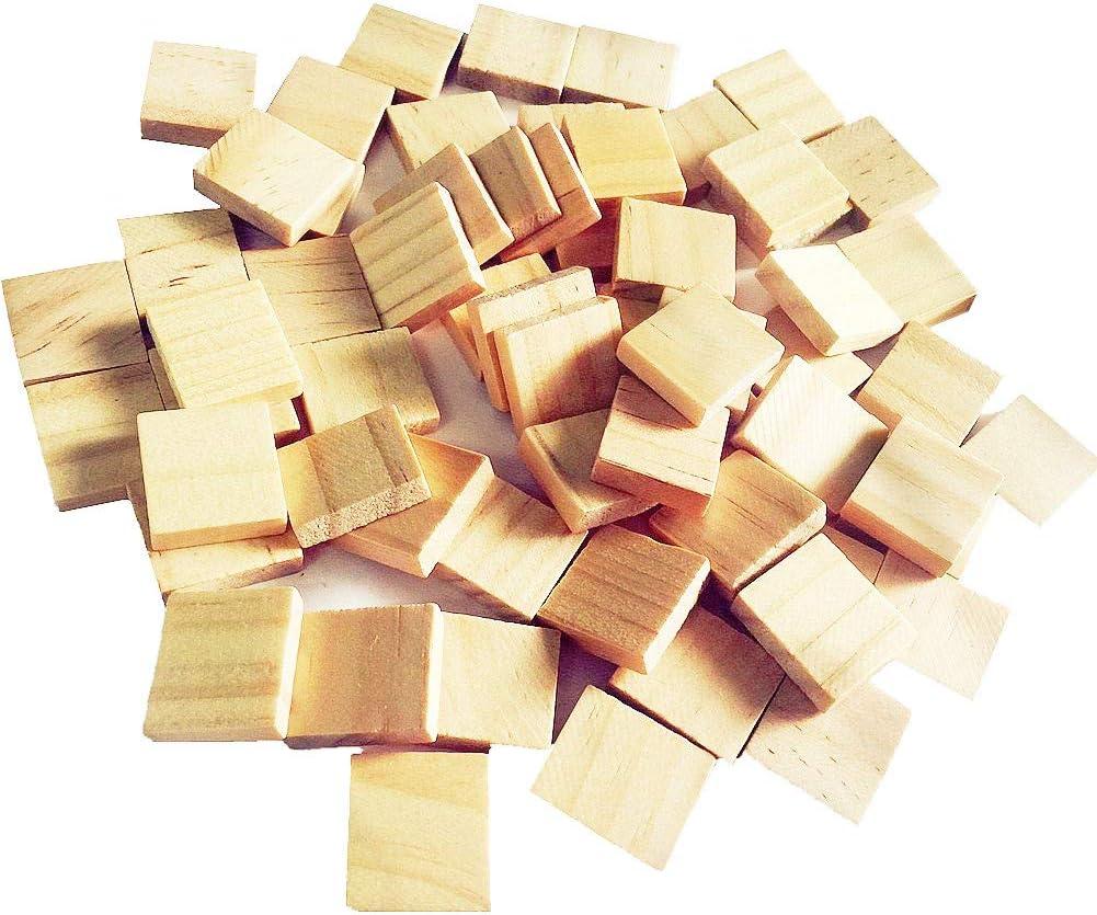 Abbaoww - 100 piezas de Scrabble de madera en blanco para manualidades, decoración, arte alterado y grabado láser tallado: Amazon.es: Juguetes y juegos