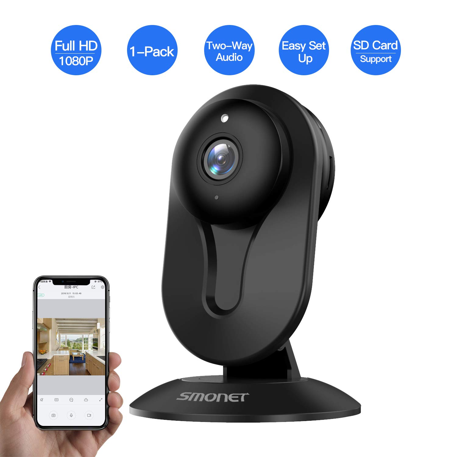 SMONET Indoor Security Camera, Security IP Camera Wireless with Two-Way Audio, Night Vision, Full HD 1080P 2.0 Mega-Pixel Indoor Surveillance Camera for Elder Baby Nanny Pet Monitor Black