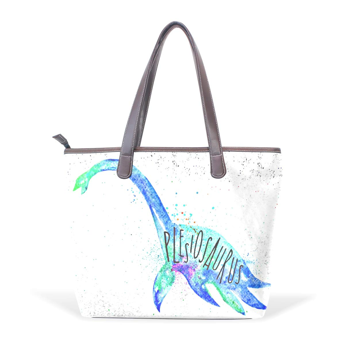 Womens Leather Blue Dynosaur And Plesiosaurus Art Handbag Satchel Tote Bag Tote Purse
