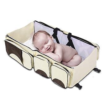 Bolsa de pañales de viaje estación de cambio de cuna [3 en 1] pañales de bebé multiuso cama de mano pañal para niños cunas cuna cuna portátil cambiar ...