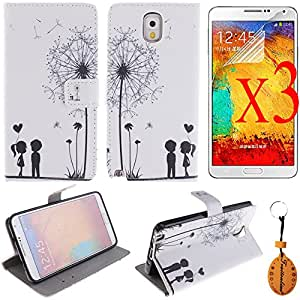 Samsung Galaxy Note 3 Case Leather Wallet With Stand Skin for Samsung Note 3 Phone Bag with Card Holder Flip cover+Traitonline® Protective Film + Key Chain