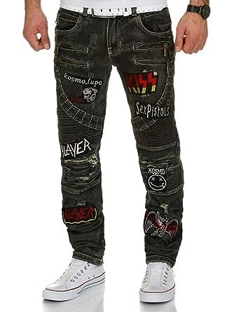 7d940808527f Kosmo Lupo Herren Jeans Hose JeansHose Denim Zipper Biker  Amazon.de   Bekleidung