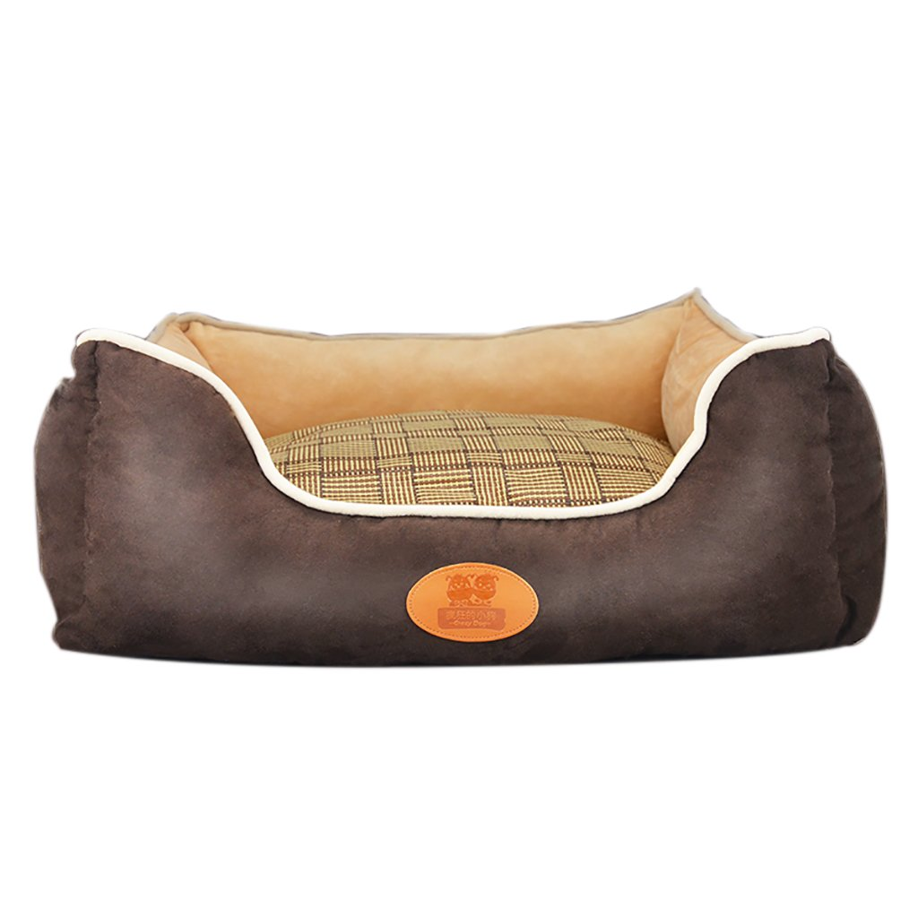 GJ@ + Pet Kennel Cat Nest Removable And Washable Four Seasons ApplySmall Dog Bed Mat Dog Room,Brown,70  60cm