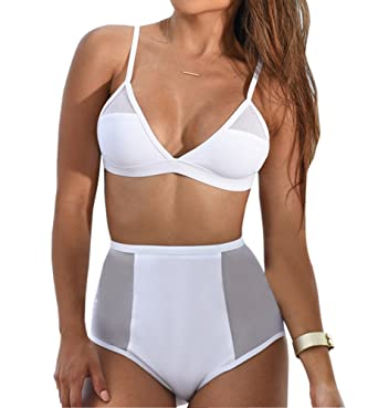 197f2e2292a Amazon.com  Women Solid Mesh Splicing High Waist Padded Bikini Set Bathing  Suit  Clothing