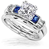 Cushion-Moissanite-Sapphire-and-Diamond-Bridal-Rings-Set-1-12ct-ctw-in-14k-White-Gold