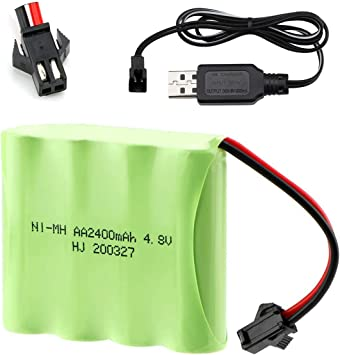Hootracker 4 8v 2400mah Ni Mh Aa Rechargeable Battery Pack With Sm 2p 2 Pin Plug And Usb Charger Cable For Rc Truck Cars Vehicles Spielzeug