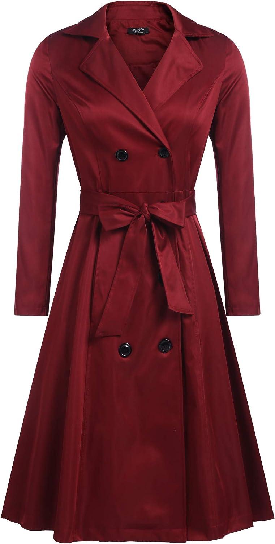 Zeagoo Women's Trench Coats Double-Breasted Long Coat with Belt