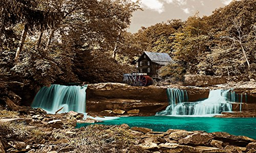 River Mill - Teal Brown/Gray Background Canvas Wrapped Wall Art Water Falls Pictures. Wall art for Living Room Bedroom Home Office (20x40, Sepia) by Canvas Wall Art 4 You
